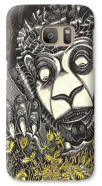 Galaxy Case featuring the drawing The Beast Discovers New Life by Al Goldfarb