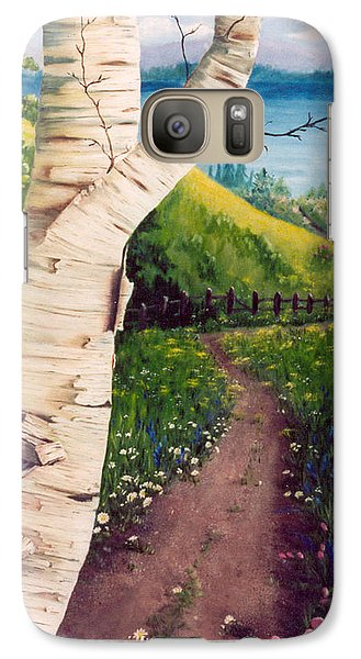 Galaxy Case featuring the painting The Birch by Renate Nadi Wesley