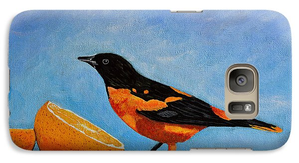 Galaxy Case featuring the painting The Bird And Orange by Laura Forde