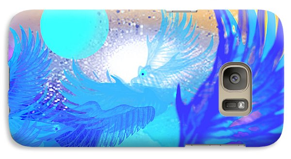 Galaxy Case featuring the digital art The Blue Avians by Ute Posegga-Rudel