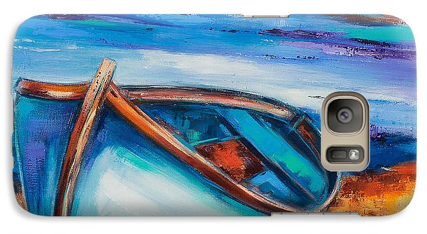 Galaxy Case featuring the painting The Blue Boat by Elise Palmigiani