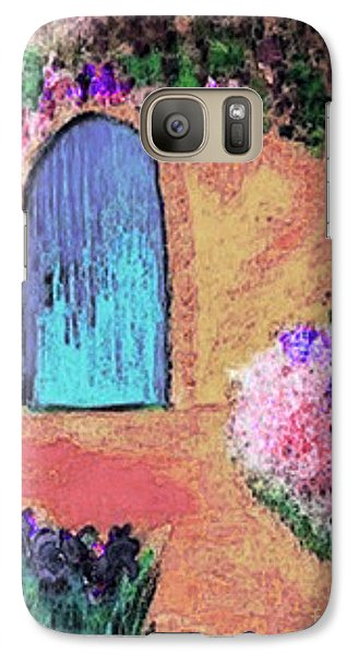 Galaxy Case featuring the mixed media The Blue Door by Holly Martinson