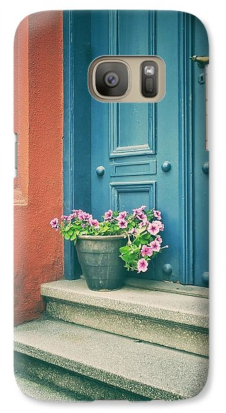 Galaxy Case featuring the photograph The Blue Door by Karen Stahlros