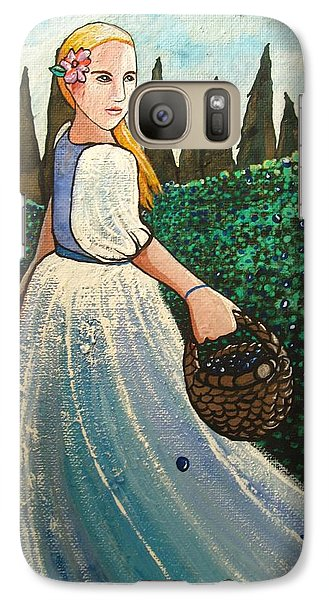Galaxy Case featuring the painting The Blueberry Harvest by Mary Ellen Frazee