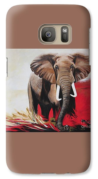 Galaxy Case featuring the painting The Bull Elephant - Constitution by Sigrid Tune