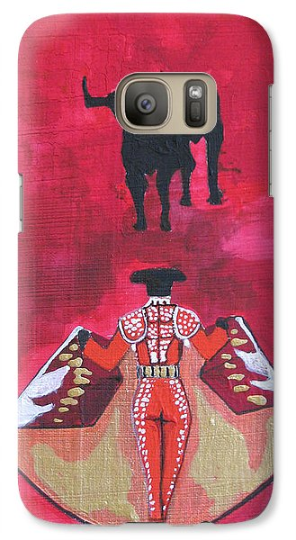 Galaxy Case featuring the painting The Bull Fight  No.1 by Patricia Arroyo