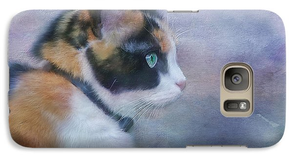 Galaxy Case featuring the digital art The Calico Staredown  by Colleen Taylor