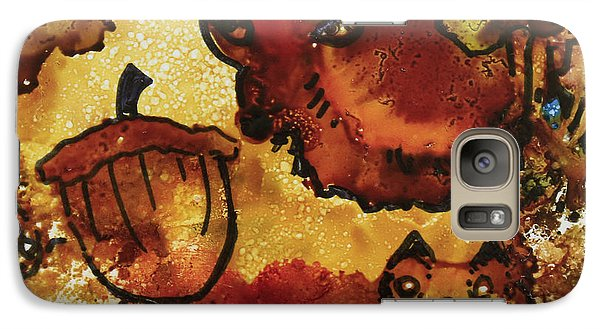 Galaxy Case featuring the painting The Cat And The Acorn by Suzanne Canner