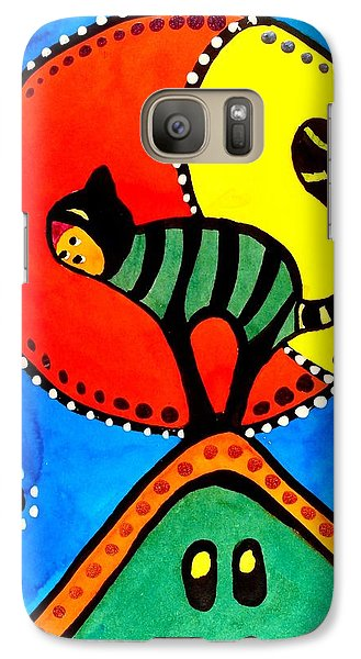 Galaxy Case featuring the painting The Cat And The Moon - Cat Art By Dora Hathazi Mendes by Dora Hathazi Mendes