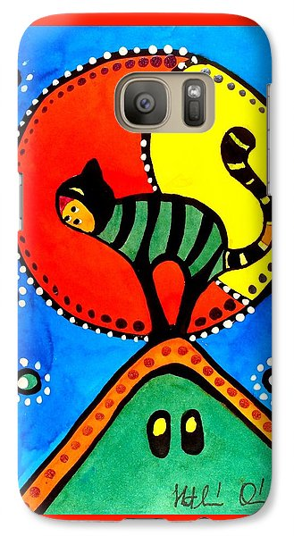 The Cat And The Moon - Cat Art By Dora Hathazi Mendes Galaxy S7 Case by Dora Hathazi Mendes