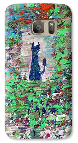Galaxy Case featuring the painting The Cat In The Garden by Fabrizio Cassetta
