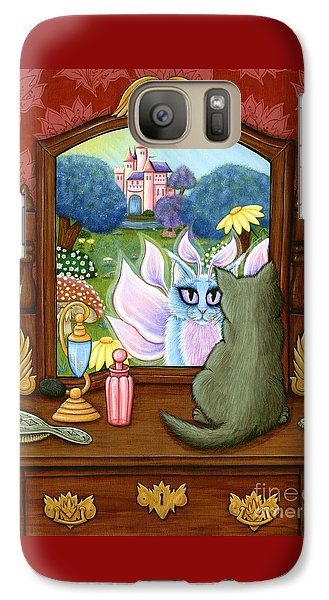 Galaxy Case featuring the painting The Chimera Vanity - Fantasy World by Carrie Hawks