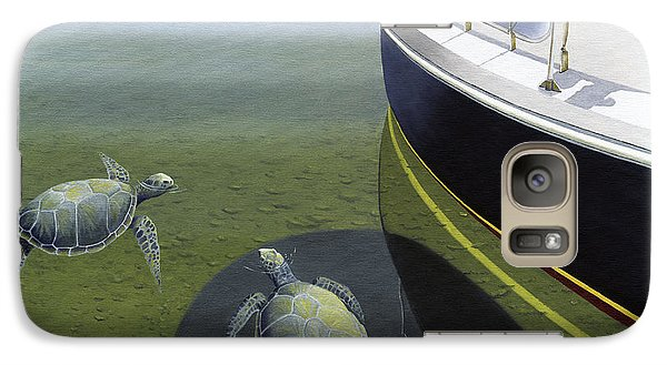 Galaxy Case featuring the painting The Curiosity Of Sea Turtles by Gary Giacomelli