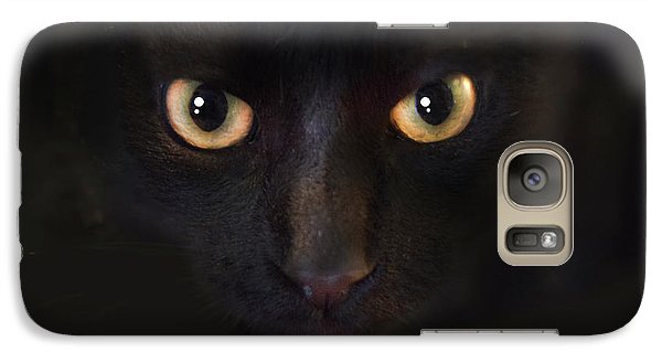 Galaxy Case featuring the photograph The Dark Cat by Gina Dsgn