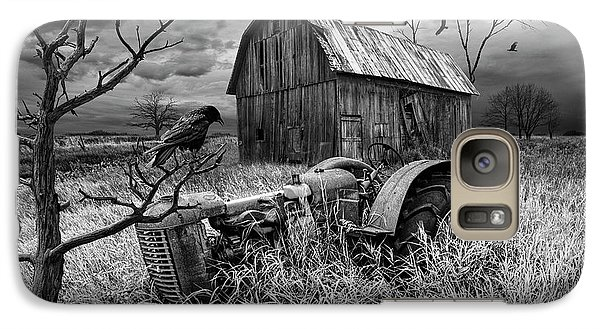Galaxy Case featuring the photograph The Decline And Death Of The Small Farm In Black And White by Randall Nyhof