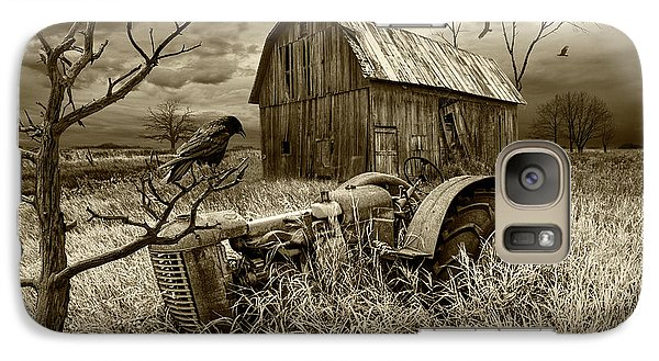 Galaxy Case featuring the photograph The Decline And Death Of The Small Farm In Sepia Tone by Randall Nyhof