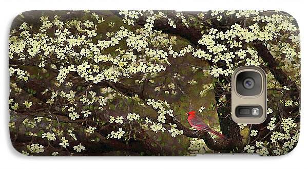 Galaxy Case featuring the digital art The Dogwoods And The Cardinal by Darren Fisher
