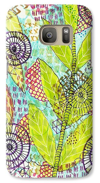 Galaxy Case featuring the mixed media The Earth Dances by Lisa Noneman