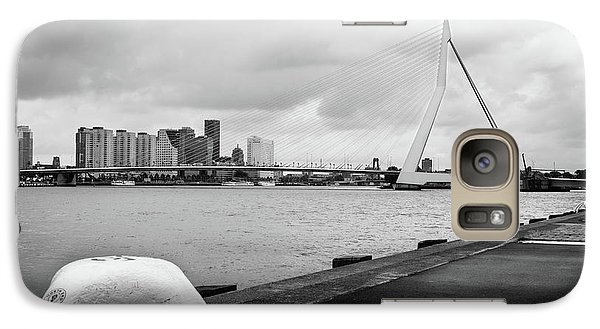 Galaxy Case featuring the photograph The Erasmus Bridge In Rotterdam Bw by RicardMN Photography