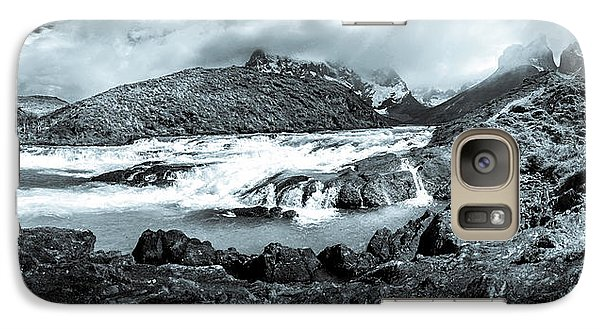 Galaxy Case featuring the photograph The Falls In Black And White by Andrew Matwijec