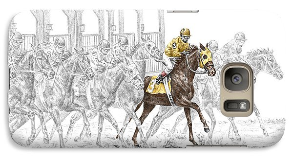 Galaxy Case featuring the drawing The Favorite - Thoroughbred Race Print Color Tinted by Kelli Swan