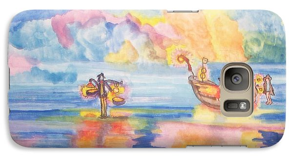 Galaxy Case featuring the painting The Fishermen Come Home by Connie Valasco