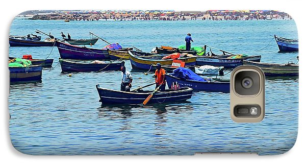 Galaxy Case featuring the photograph The Fishermen - Miraflores, Peru by Mary Machare