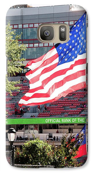 Galaxy Case featuring the photograph The Flag Flying High Over Sanford Stadium by Parker Cunningham