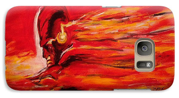 Galaxy Case featuring the painting The Flash Comic Book Superhero Character Flash Gordon Lightning In Red Yellow Acrylic Cotton Canvas  by M Zimmerman MendyZ