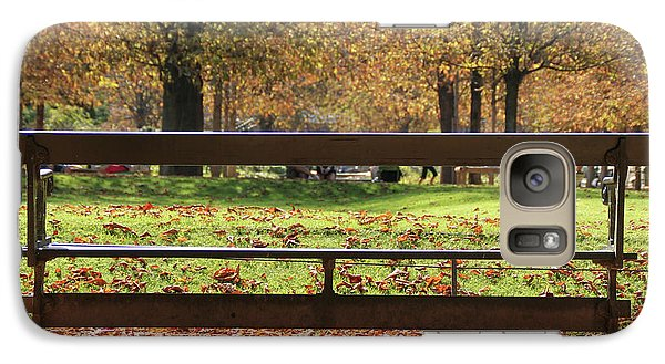 Galaxy Case featuring the photograph The French Bench And The Autumn by Yoel Koskas