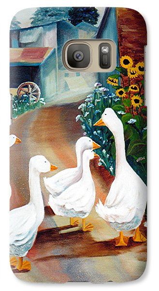 Galaxy Case featuring the painting The Gaggle by Renate Nadi Wesley