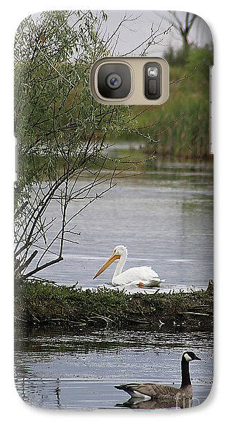 Galaxy Case featuring the photograph The Goose And The Pelican by Alyce Taylor