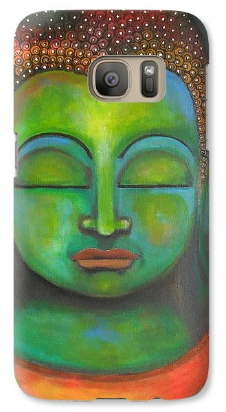 Galaxy Case featuring the painting The Green Buddha by Prerna Poojara
