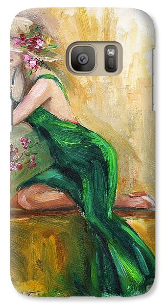 Galaxy Case featuring the painting The Green Charmeuse  by Jennifer Beaudet