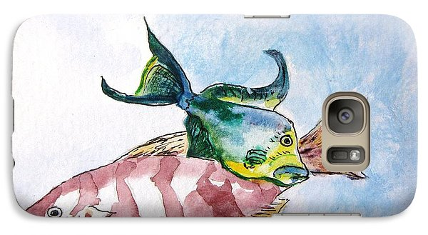 Galaxy Case featuring the painting The Grouper And Friend by Gary Smith