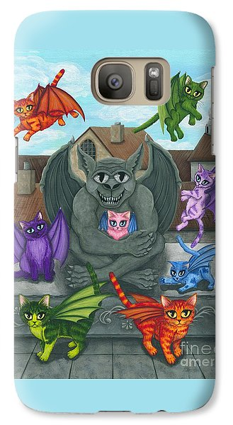 Galaxy Case featuring the painting The Guardian Gargoyle Aka The Kitten Sitter by Carrie Hawks