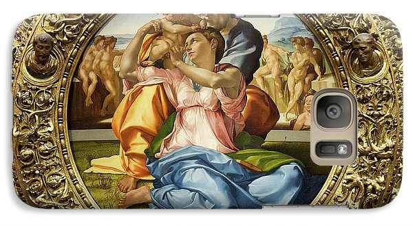 The Holy Family - Doni Tondo - Michelangelo - Round Canvas Version Galaxy S7 Case