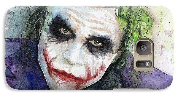 The Joker Watercolor Galaxy S7 Case by Olga Shvartsur