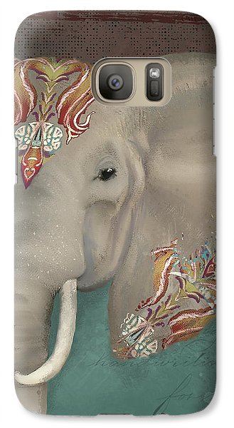 Galaxy Case featuring the painting The King - African Bull Elephant - Kashmir Paisley Tribal Pattern Safari Home Decor by Audrey Jeanne Roberts
