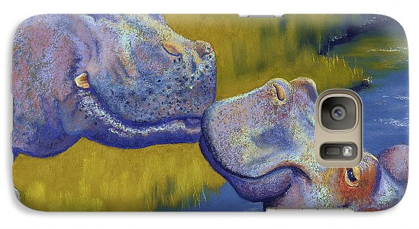 The Kiss - Hippos Galaxy Case by Tracy L Teeter