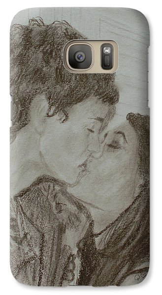 Galaxy Case featuring the drawing The Kiss by Quwatha Valentine
