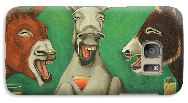 Galaxy Case featuring the painting The Laughing Donkeys by Leah Saulnier The Painting Maniac