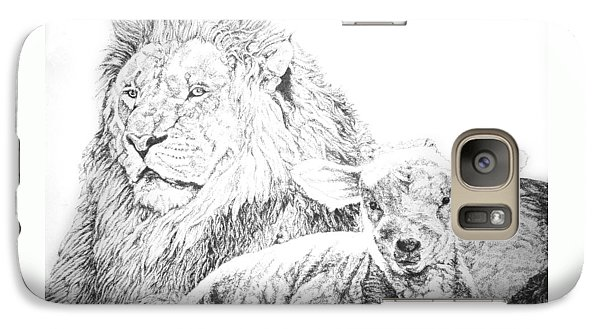 Galaxy Case featuring the drawing The Lion And The Lamb by Bryan Bustard