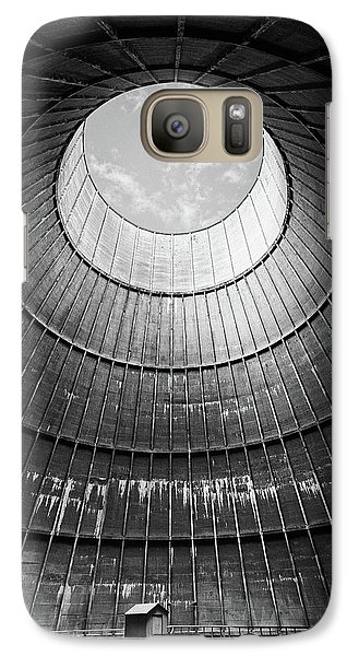 Galaxy Case featuring the photograph the little house inside the cooling tower BW by Dirk Ercken
