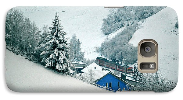 Galaxy Case featuring the photograph The Little Red Train - Winter In Switzerland  by Susanne Van Hulst
