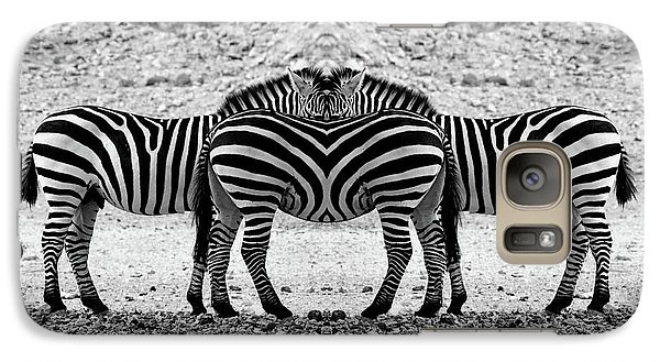 Galaxy Case featuring the photograph The Mirrord Zebra by Arik Baltinester