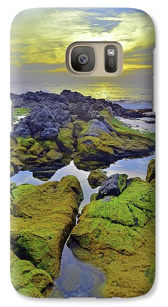 Galaxy Case featuring the photograph The Mossy Rocks At Sunset by Tara Turner