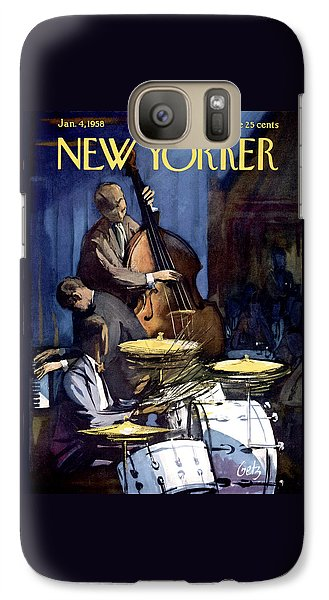 Drum Galaxy S7 Case - The New Yorker Cover - January 4th, 1958 by Arthur Getz