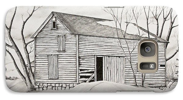 Galaxy Case featuring the drawing The Old Barn Inwinter by John Stuart Webbstock