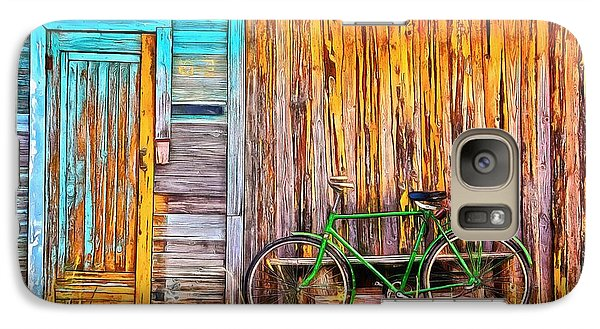 Galaxy Case featuring the painting The Old Green Bicycle by Edward Fielding